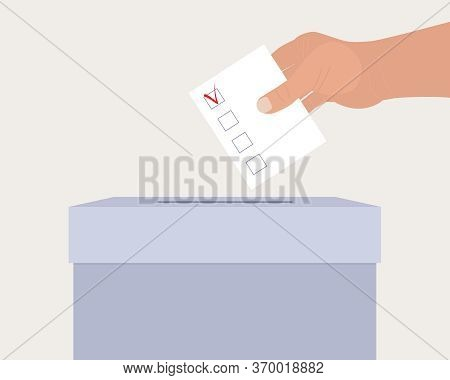 Concept Of Choice. Hand Puts Questionnaire In Ballot Box. White Sheet Template With Check Mark. List