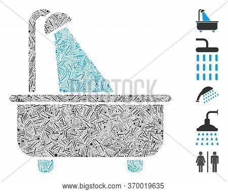 Hatch Mosaic Based On Bath Icon. Mosaic Vector Bath Is Created With Randomized Hatch Dots. Bonus Ico