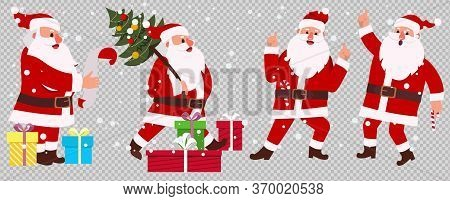 Vector Set Design Elements Funny Santa Claus Different Character. Isolated On Transparent Background