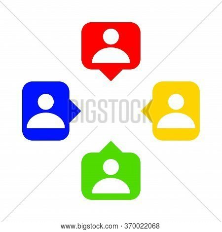 Speech Bubble With People Symbol For Icon Isolated On White, Simple Person Symbol In Square Speech B