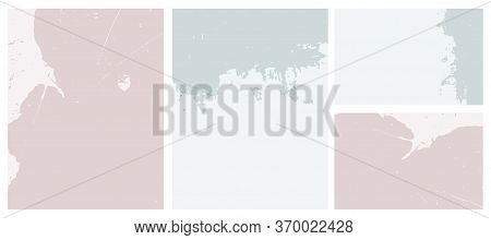 Abstract Grunge Geometric Vector Layouts. Irregular Blue And Ligh Pale Pink Rough Dabs On A Light Bl