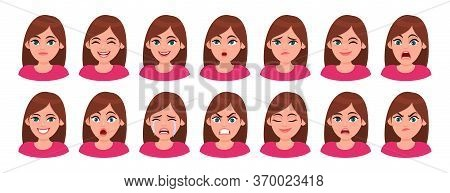 Set Of Different Facial Expressions Female Character. Collection Of Young Woman Feelings. Beautiful