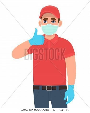 Courier Or Deliveryman In Mask And Gloves Showing Thumbs Up Sign. Person Gesturing Like Or Good. Man