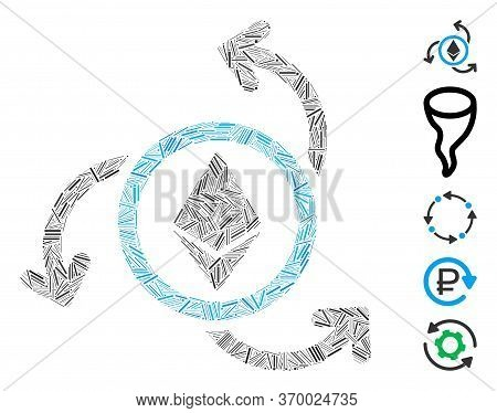 Line Mosaic Based On Ethereum Source Swirl Icon. Mosaic Vector Ethereum Source Swirl Is Formed With