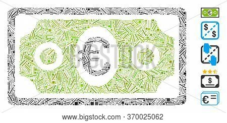 Dash Mosaic Based On Euro Banknote Icon. Mosaic Vector Euro Banknote Is Formed With Scattered Line D