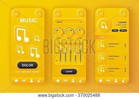 Music Player Unique Neumorphic Yellow Design Kit. Audio App With Equalizer Settings, Playlist With C