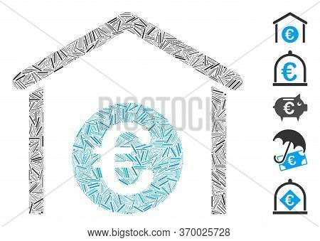 Dash Mosaic Based On Euro Storage Garage Icon. Mosaic Vector Euro Storage Garage Is Designed With Ra