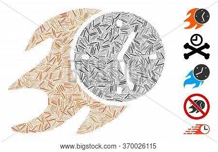 Dash Mosaic Based On Fire Deadline Clock Icon. Mosaic Vector Fire Deadline Clock Is Formed With Rand