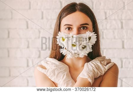 Portrait Young Tender Woman Posing In Summer Medical Face Mask And Latex Protective Gloves. Happy Be