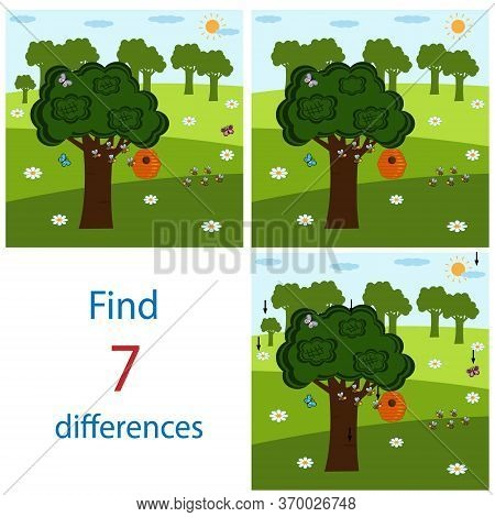 Bright Maze Game Pal For Children On The Theme Of The World And Nature, It Is Necessary To Find Diff