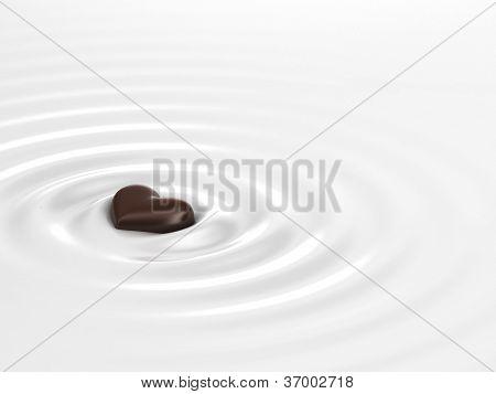 Chocolate Heart In Milk