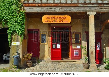 Lagrasse, Languedoc, France - September 13, 2013: Colourful Little Wine Shop Front On The Old Square