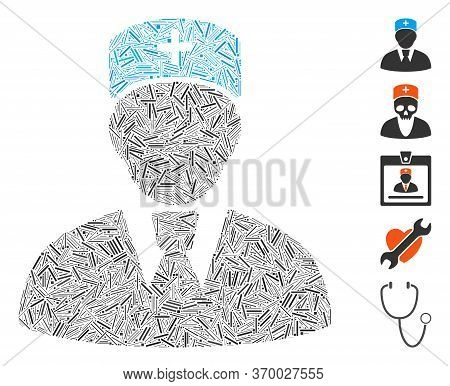 Line Mosaic Based On Head Physician Icon. Mosaic Vector Head Physician Is Formed With Scattered Line