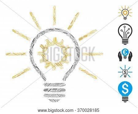 Hatch Mosaic Based On Innovation Bulb Icon. Mosaic Vector Innovation Bulb Is Composed With Random Ha