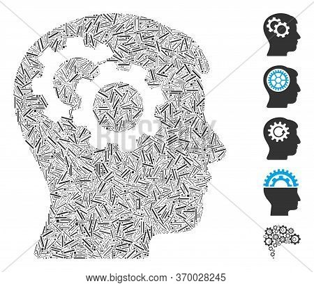 Line Mosaic Based On Intellect Gears Icon. Mosaic Vector Intellect Gears Is Formed With Random Line