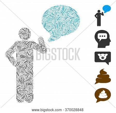 Dash Mosaic Based On Man Idea Balloon Icon. Mosaic Vector Man Idea Balloon Is Designed With Randomiz