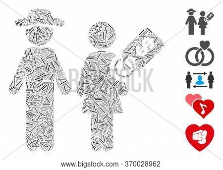 Hatch Mosaic Based On Marriage Of Convenience Icon. Mosaic Vector Marriage Of Convenience Is Formed
