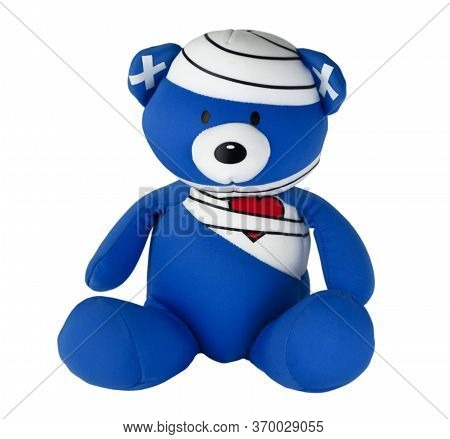 Toy Bear In Bandages Isolated On A White Background. Soft Toy For Gift, Greeting Card, Packaging Or