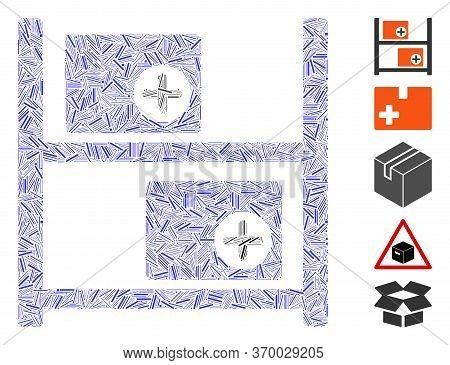 Dash Mosaic Based On Medical Warehouse Icon. Mosaic Vector Medical Warehouse Is Composed With Random