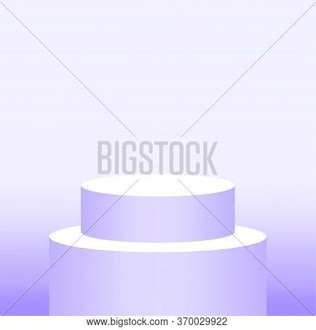 3d Pedestal Cylinder Circle Purple Soft For Cosmetics Showcase, Podium Circle Stage Purple Pastel So