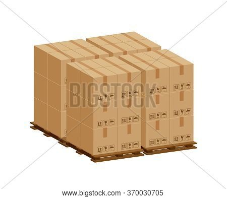 Pile Crate Boxes 3d On Wooden Pallet, Wood Pallet With Cardboard Box For Factory And Warehouse Stora