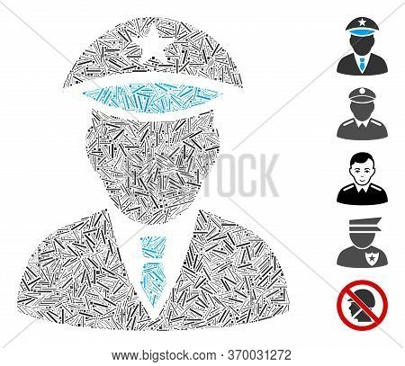 Dash Mosaic Based On Police Officer Icon. Mosaic Vector Police Officer Is Created With Randomized Da