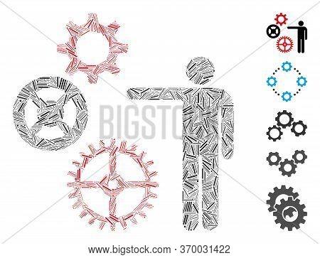 Line Mosaic Based On Project Mechanics Icon. Mosaic Vector Project Mechanics Is Designed With Random