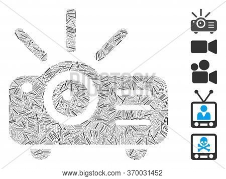 Line Mosaic Based On Projector Icon. Mosaic Vector Projector Is Composed With Random Line Spots. Bon