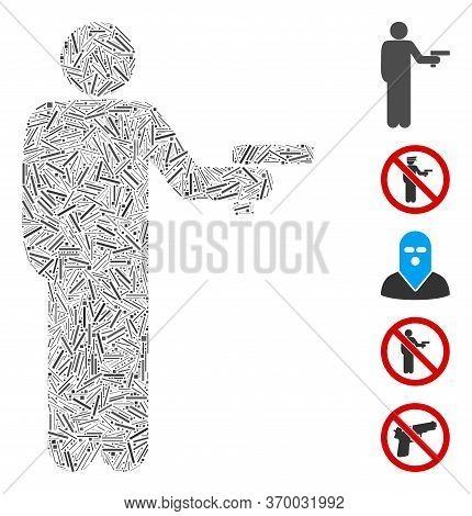 Line Mosaic Based On Robber With Gun Icon. Mosaic Vector Robber With Gun Is Formed With Scattered Li