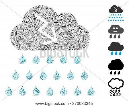 Line Mosaic Based On Thunderstorm Rain Cloud Icon. Mosaic Vector Thunderstorm Rain Cloud Is Formed W