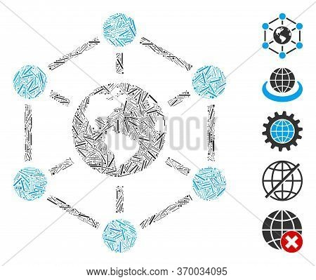 Line Mosaic Based On Worldwide Internet Icon. Mosaic Vector Worldwide Internet Is Composed With Scat