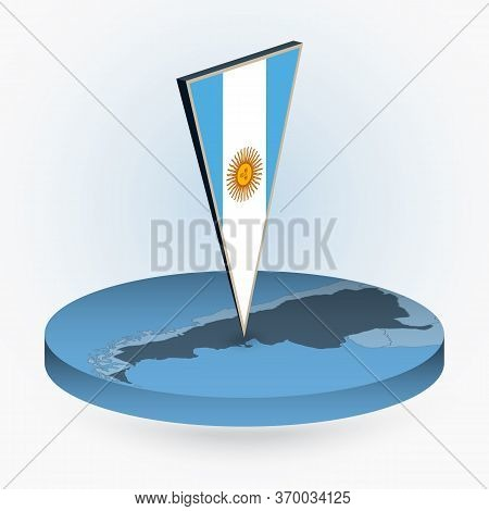 Argentina Map In Round Isometric Style With Triangular 3d Flag Of Argentina, Vector Map In Blue Colo