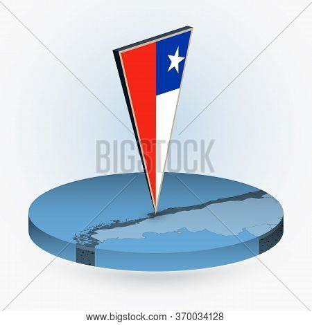 Chile Map In Round Isometric Style With Triangular 3d Flag Of Chile, Vector Map In Blue Color.
