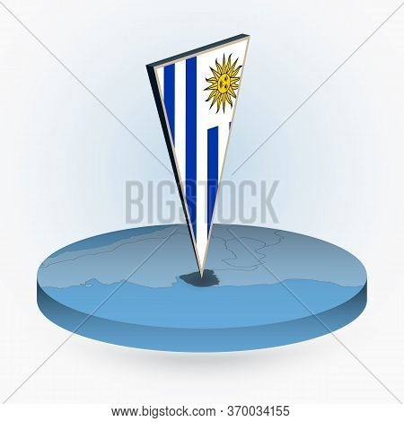 Uruguay Map In Round Isometric Style With Triangular 3d Flag Of Uruguay, Vector Map In Blue Color.