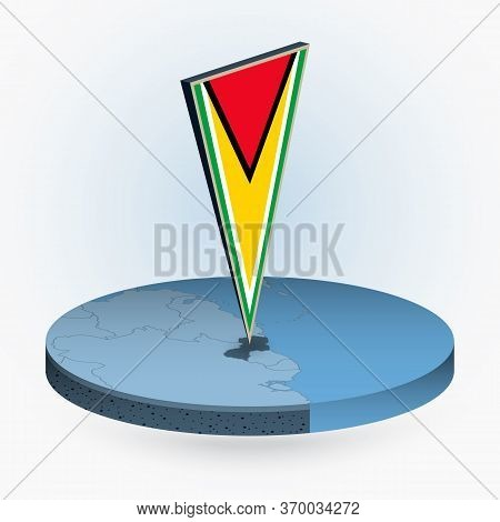 Guyana Map In Round Isometric Style With Triangular 3d Flag Of Guyana, Vector Map In Blue Color.