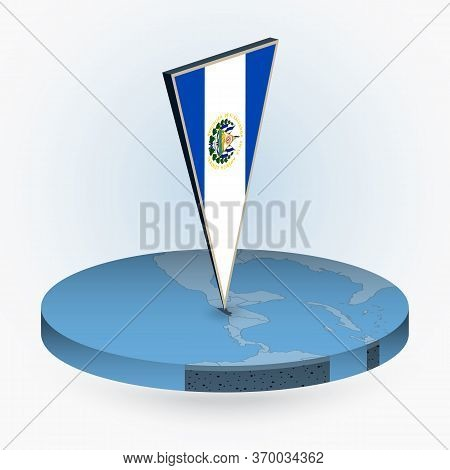 El Salvador Map In Round Isometric Style With Triangular 3d Flag Of El Salvador, Vector Map In Blue