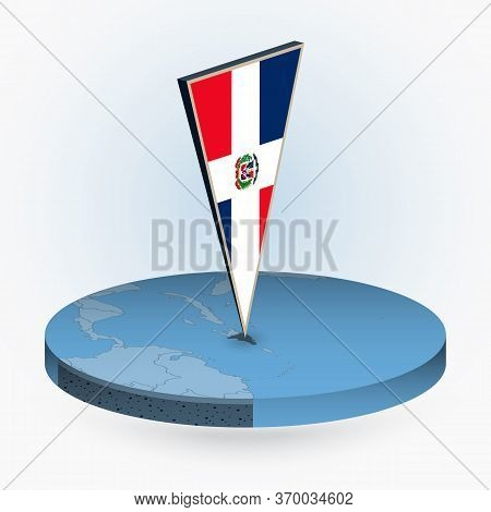 Dominican Republic Map In Round Isometric Style With Triangular 3d Flag Of Dominican Republic, Vecto