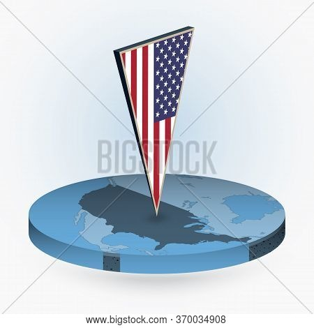 United States Map In Round Isometric Style With Triangular 3d Flag Of Usa, Vector Map In Blue Color.