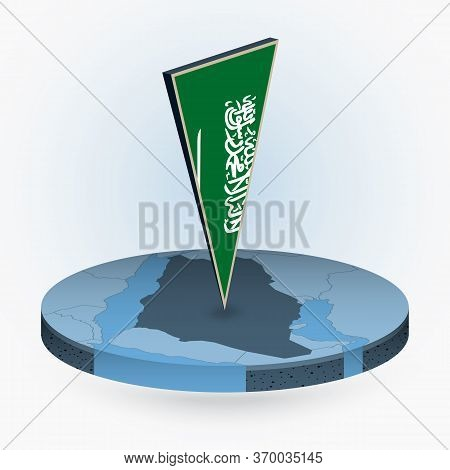 Saudi Arabia Map In Round Isometric Style With Triangular 3d Flag Of Saudi Arabia, Vector Map In Blu