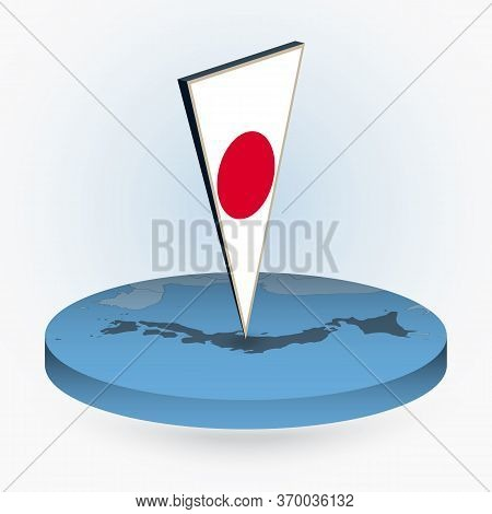 Japan Map In Round Isometric Style With Triangular 3d Flag Of Japan, Vector Map In Blue Color.