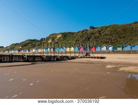Colourful Beach Huts At Overstrand In Norfolk