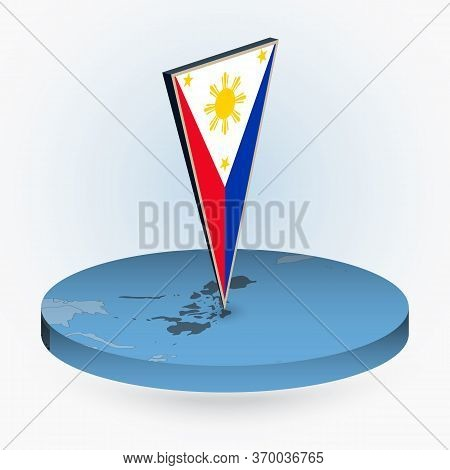 Philippines Map In Round Isometric Style With Triangular 3d Flag Of Philippines, Vector Map In Blue