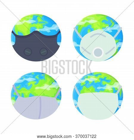 Planet Earth Wearing Protective Face Mask Set. Environmental Pollution, Fine Dust, Air Pollution, In