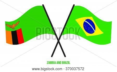 Zambia And Brazil Flags Crossed And Waving Flat Style. Official Proportion. Correct Colors