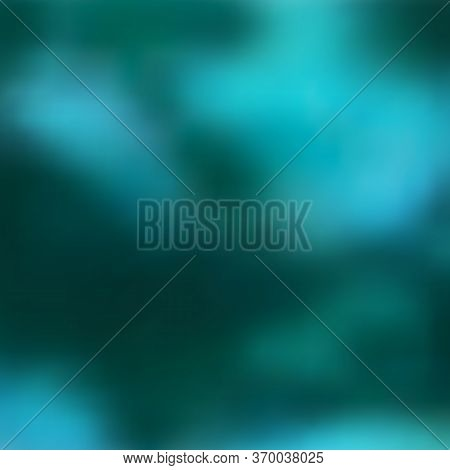 Dark Turquoise, Greenish Blurry Background With Gradient Transitions In Blue-green Spots. Great As A
