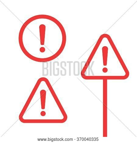 Alert Icon And Attention Sign. Alert Icon Vector Flat Design Illustration. Exclamation Mark, Alert S