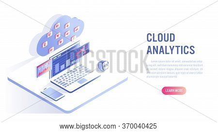 Cloud Computing And Data Analytics Concept. Business Analytics Of Data Financial Graphs. Isometric F