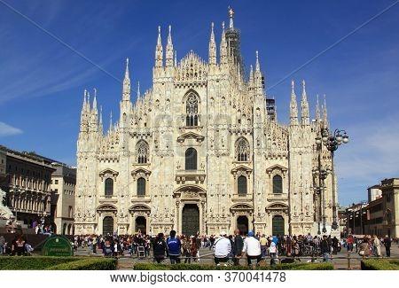 Milan, Italy - May 26, 2013: Milan Cathedral (duomo Di Milano) In Summer. Milan Cathedral (duomo Di