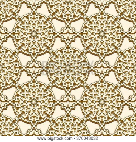 Vintage Gold Seamless Pattern With Round Ornaments, Golden Brocade Texture, Repeating Ornamental Bac