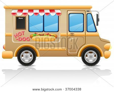 Car Hot Dog Fast Food Vector Illustration